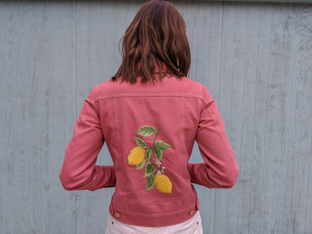 Hampton Jean Jacket Embroidered with Lemons