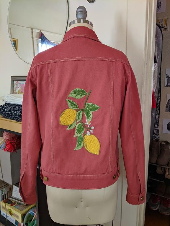 Embroidered pink denim hampton jean jacket
