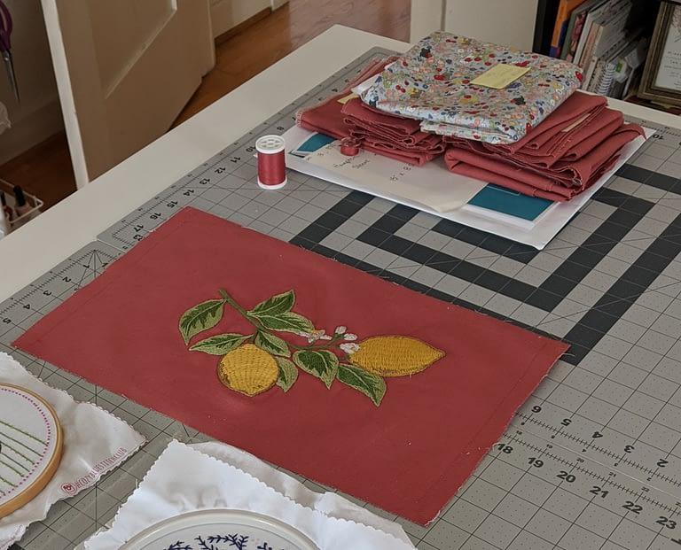 Finished embroidered motif of lemons