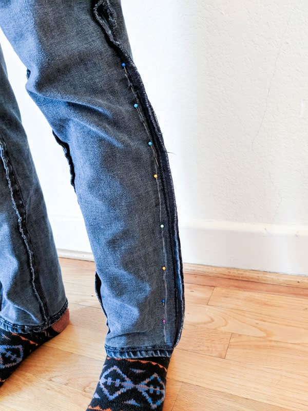 how to taper jeans chalk lines