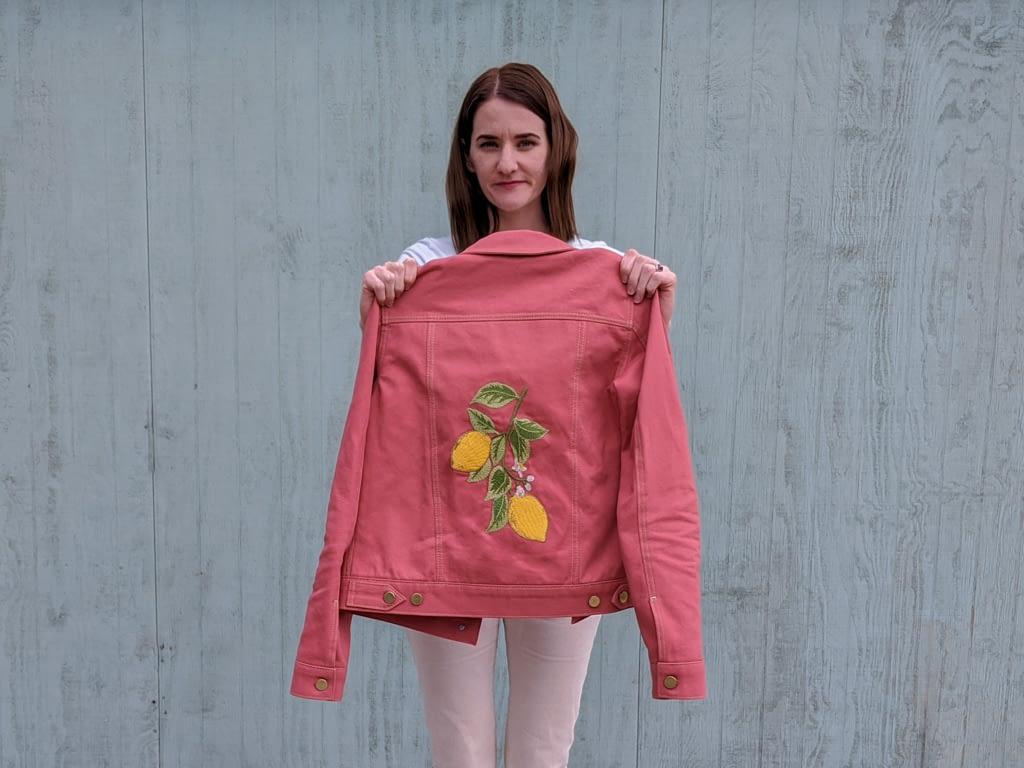 Lemons embroidered on pink hampton jean jacket