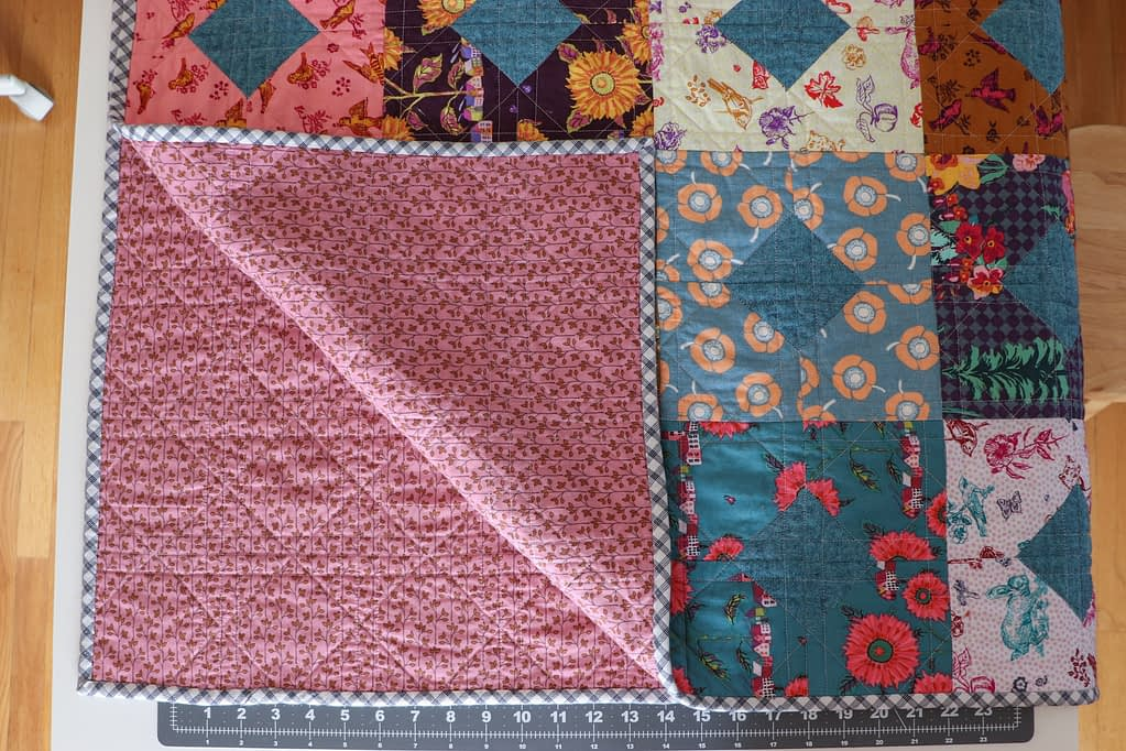 Diamonds and Squares quilt, backing fabric.