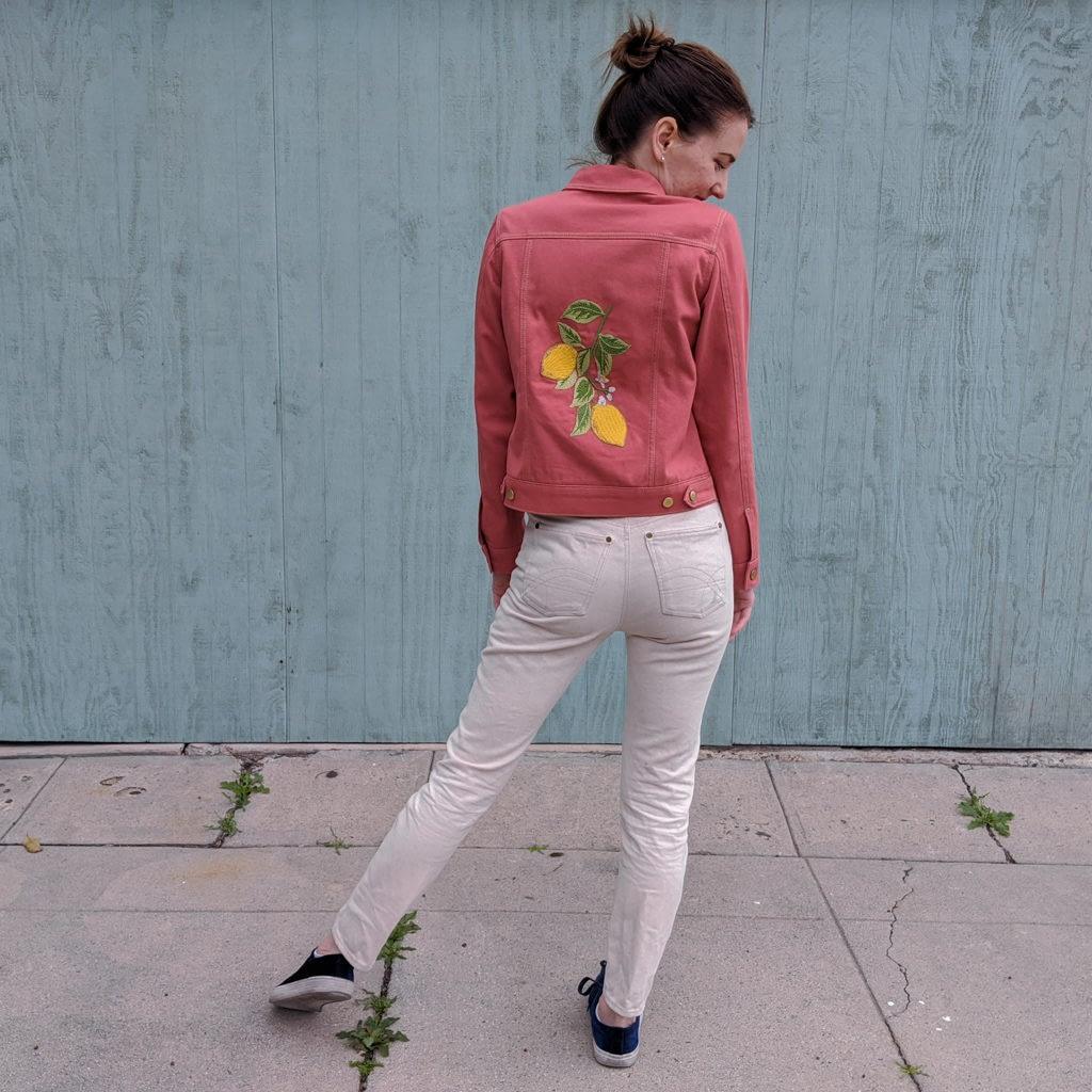 Embroidered pink denim jacket